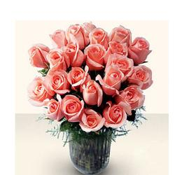 Vase of 25 Pink Roses for Coimbatore