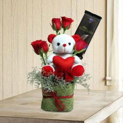 Vase of Teddy with Red Roses and Bournville Chocolate for Chandigarh