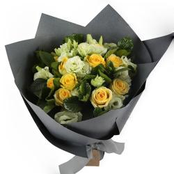 White and Yellow Roses Bouquet for Coimbatore