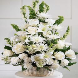 White Flowers Basket for Chandigarh