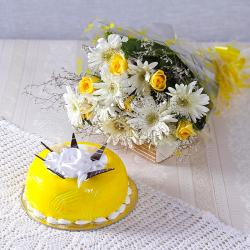 White Gerberas with Yellow Roses and Pineapple Cake