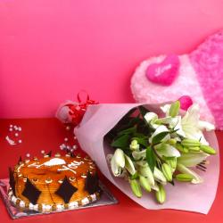 White Lilies Bouquet and Butterscotch Cake for Ahmedabad