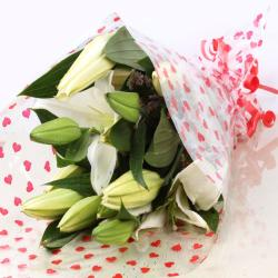 White Lilies Bouquet for Shimla