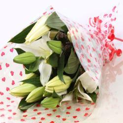 White Lilies Bouquet for Raichur