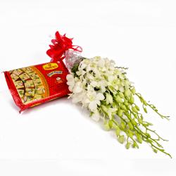 White Orchids Bouquet and Soan Papdi Box for Pune