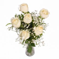 White Roses in a Vase for Siliguri