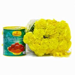 Yellow Carnation Bunch with 1 Kg Gulab Jamuns for Belgaum
