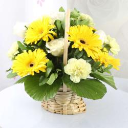 Yellow Mix Flowers Basket