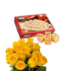 Yellow Roses & Soan Papdi Box for Hyderabad