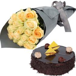 Yellow Roses With Dark Chocolate Cake for Lucknow