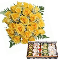 Yellow Roses with Kaju Sweets for Noida