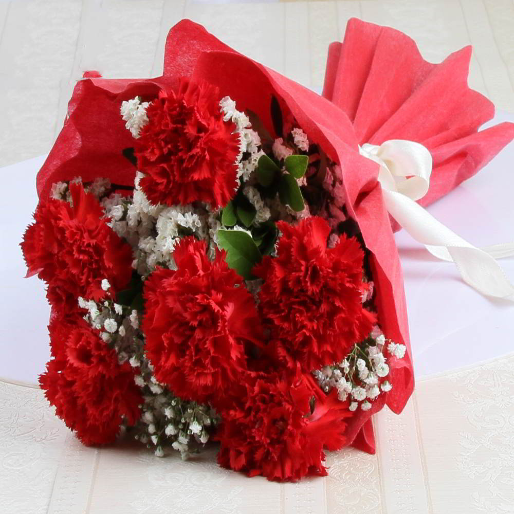 Tissue Wrapped of Red Carnation