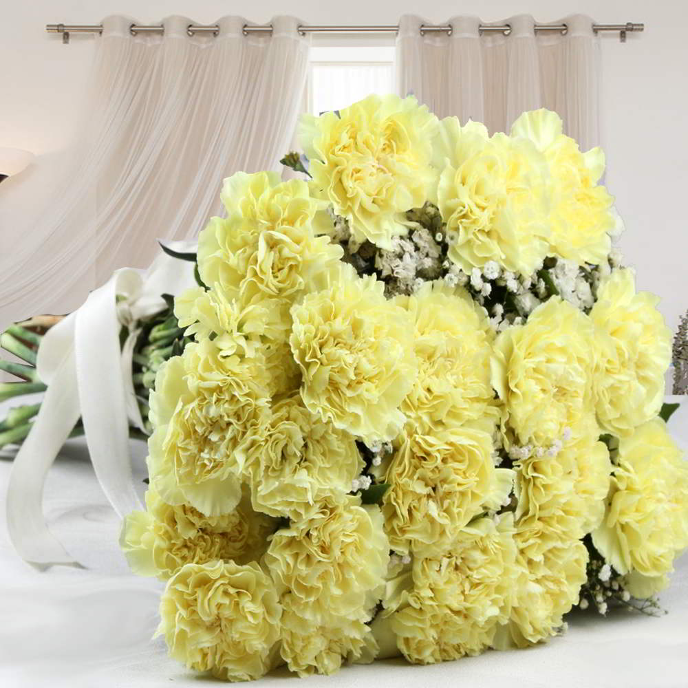 Twenty Yellow Carnations Bouquet